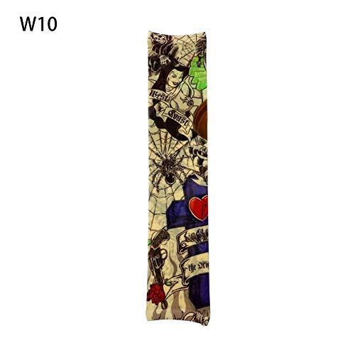VCB 1pc Fake Tattoo Elastic Arm Sleeve Arm Stockings Sport Skins Sun Protective - Multicolor(W10) (Sleeve Halloween Designs Tattoo)