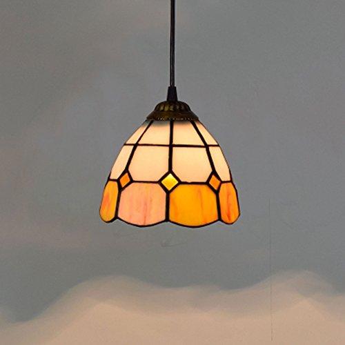 E27 Tiffany Pendelleuchte Retro Pastoral Dekor Hängeleuchte Bunt Glas  Lampenschirm Orange Pendellampe Nachttischlampe Wohnzimmer.