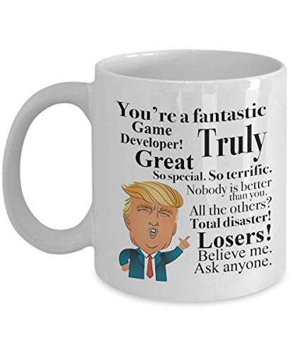 Donald Trump Coffee Mug - 11 Oz Tea Cup Gift Ideas for Game Developer Birthday Christmas President Conservative Republican (Christmas Game Ideen)