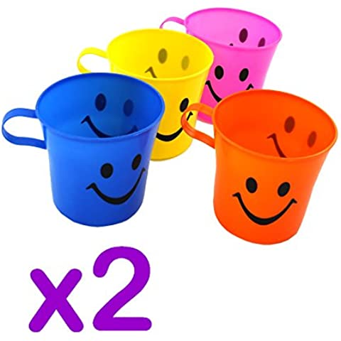 Cara de la sonrisa tazas - Un paquete contiene 4 pedazos coloridos, Pack de 2