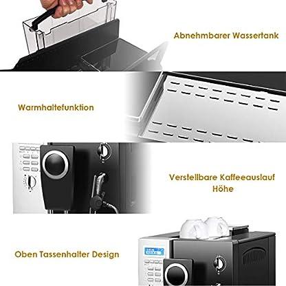 DREAMADE-Kaffeevollautomat-Edelstahl-Kaffeemaschine-mit-Milchaufschumer-System-2-L-WassertankKaffeebohnen-und-Kaffeepulver-1200W-2-Tassen-Funktionsilber-schwarzzweisprachige-Anzeige