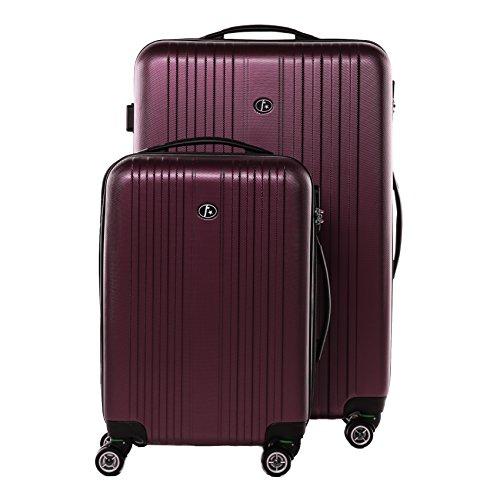 FERGÉ Zweier Kofferset TOULOUSE Handgepäck & Koffer medium Hartschale | 2 Trolley-Hartschalenkoffer mit 4 Zwillingsrollen (360°) | Koffer Burgundrot leicht &...