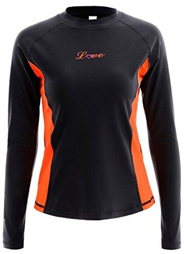 ALove Damen Rashguard UV Shirt Langarm Surf Shirt UV Schutz 50+ Schwarz L