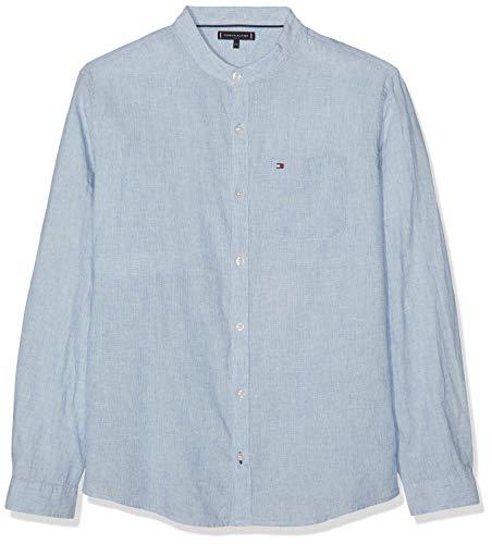 Jungen Leinen Hemd (Tommy Hilfiger Jungen Essential Cotton Linen Shirt L/S Hemd, Blau Blue 474, 122 (Herstellergröße: 7))