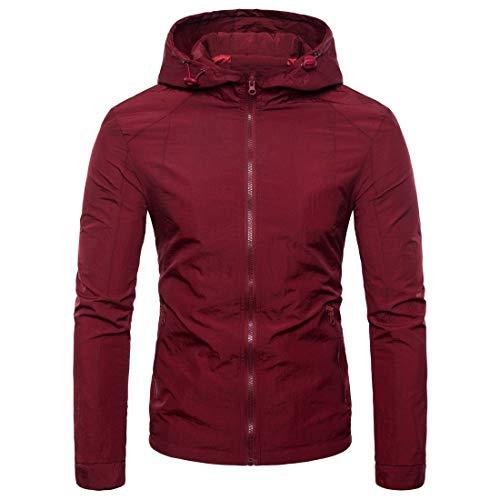 Beixundianzi felpa con cappuccio da uomo felpa da uomo manica lunga slim felpa con cappuccio felpa giacca autunno inverno cappotto wine red m