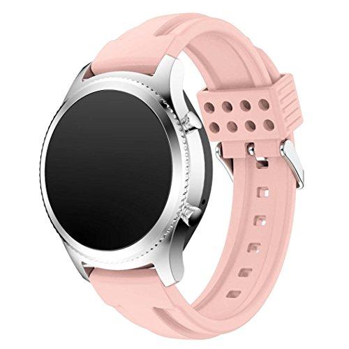 Preisvergleich Produktbild Sansee Fashion New Sports Silikon Armband Strap Band für Samsung Gear S3 Classic - (Samsung Gear S3 Classic Doppel-Pit Silikon-Armband) (rosa)