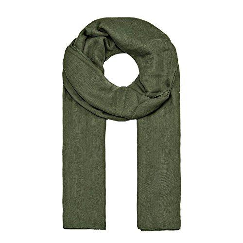 MANUMAR Schal für Damen einfarbig | Hals-Tuch in Grün als perfektes Herbst Winter Accessoire | Klassischer Damen-Schal | Stola | Mode-Schal | Geschenkidee für Frauen und Mädchen