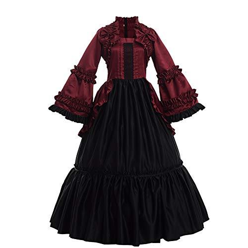 GRACEART Damen Langarm Renaissance Mittelalter Kleid Gothic Viktorianischen Königin Kleid Kostüm (2XL, Weinrot)