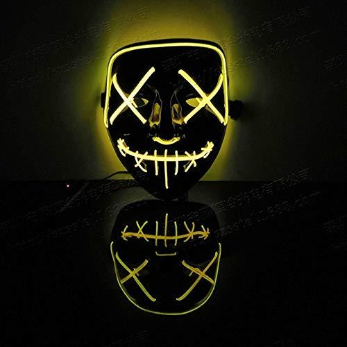 WSCOLL Halloween Maske LED Leuchten Partei Masken Die Purge Wahljahr Große Lustige Masken Festival Cosplay Kostüm Liefert Glow In DarkYellow (Yellow King Kostüm)