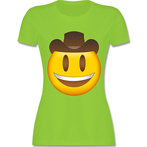 Shirtracer Comic Shirts - Emoji Cowboy-Hut - Damen T-Shirt Rundhals Hellgrün