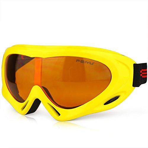 Magic Zone OTG Skibrille/Snowboardbrille für Damen, Herren und Jugendliche, zum Tragen über der Brille, 100 % UV-Schutz One Size gelb (Dirt Bike Oakley)