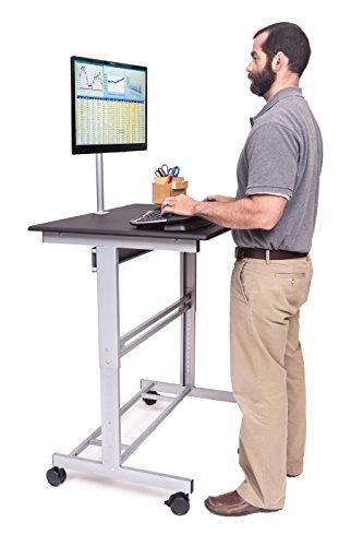 100cm Länge Höhenverstellbarer Schreibtisch (Rahmen silber / Holz schwarz)