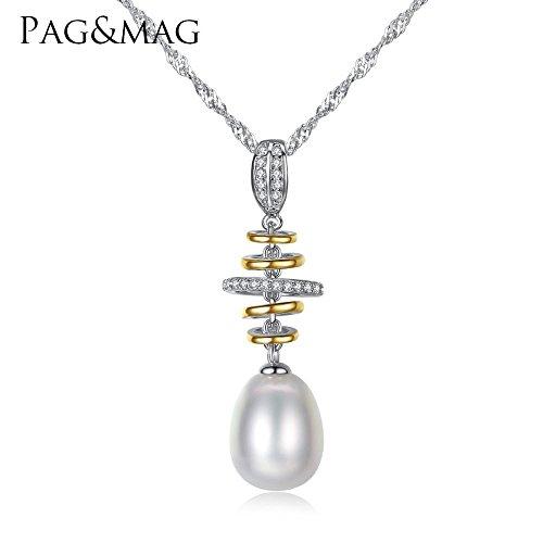 Haixin Collier pendentif perle naturelle S925 argent chaîne, chaîne longueur 40 + 5 cm (réglable)