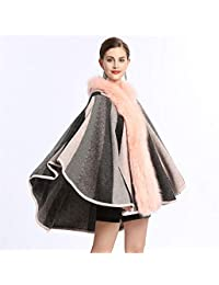 8cba462125d713 Hukangyu1231 Women Ladies Warm Knitted Poncho Women Ladies Faux Fur Trim  Hooded Shawl Cloak Capes Ponchos Coat Poncho Cape Sweater…