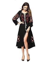YLCRMBJ Women ' S Autumn Ricamo Cardigan Stile Cintura Fashion Dress (Nero),Black,Asize