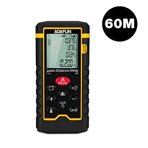 Aoafun Entfernungsmesser 60m,Hochpräzisions,automatische Messung, Digital-Laser-Bandmaß Messbereich 0,05 ~ 60m / ± 1,5mm mit Lcd-Hintergrundbeleuchtung, Staub und IP54 (Einbeziehen 2 x AAA-Batterie)