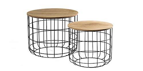 LIFA LIVING® 2er Set Beistelltisch aus schwarzem Metall und einer MDF-Holz Platte | Couchtisch mit Korbfunktion im Vintagestil und Industriestil | Bis zu 20kg Belastbarkeit - Natürliche Schwarze Beistelltisch