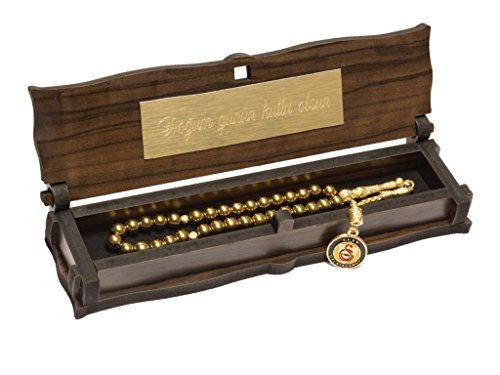 Gök-Türk Gebetskette - Tesbih mit Schatulle mit IHRER GRAVUR goldfarbene 33 Perlen mit Anhänger Galatasaray GS