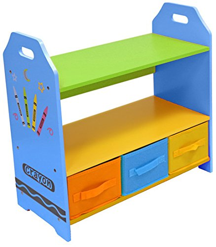 bebe-style-childrens-sized-wooden-shelves-with-three-storage-boxes-blue-crayon-themed