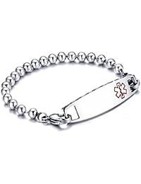 Vnox cuentas de acero inoxidable cadena de enlace de alerta médica placas de identificación Diabetes pulsera pulsera de plata,21.5 cm,grabado libre