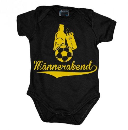 Männerabend mit Milch, Bier und Fussball Babybody kurzarm gelb-print, Grösse:62;Farbe:schwarz