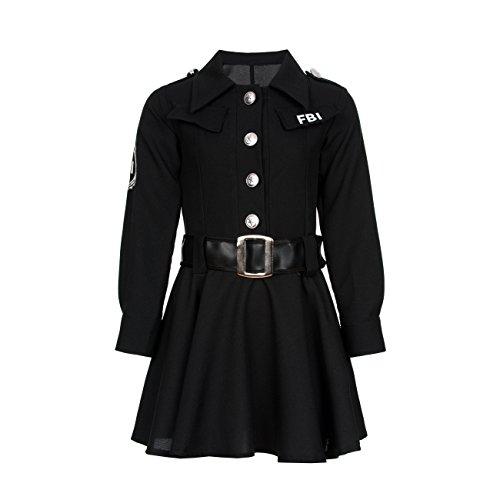 Kostümplanet® FBI Agent Polizei-Kostüm Mädchen Kinder Kostüm Polizistin Größe 128 (Fbi Kostüm Für Mädchen)