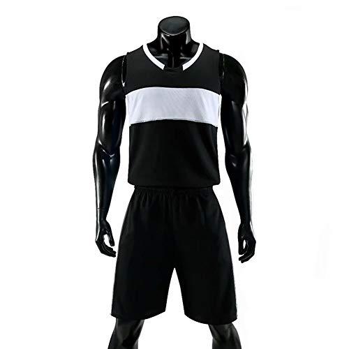 Basketball Jersey Herren Trikots Basketball Uniform Anzug Tops Und Shorts Geeignet Für Kinderkostüme,Schwarz,XXL