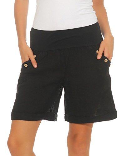 Mississhop 280 Damen Leinenshorts Bermuda lockere Kurze Hose Freizeithose 100% Leinen Shorts mit DREI Knöpfen Sommer Strand Schwarz XXL
