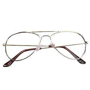 Hibote Mädchen Junge Aviator Brille – Clear Lens Glasses Frame Geek/Nerd Brillen mit Car Shape Gläser Fall