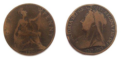 Münzen für Sammler - Circulated 1900 britischen Queen Victoria One Penny Coin / Großbritannien (1900 Penny)