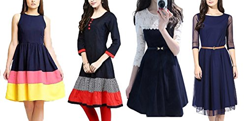 Market Magic World Women\'s Multicolor Western Wear Free Size Kurtis-Kurtas Combo Pack Of 4 (New Designer Western Dresses 8001)(Blue_5174)(Maroon_5177)(Blue_5175)(Black_5180)(Blue_5178)