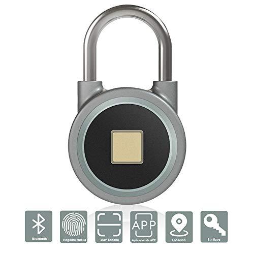 IDABAY Inalámbrico Candado Bluetooth Smart Lock control en huella Cerradura de Bluetooth control remoto impermeable acero y antirrobo para bolsa de golf Maleta, armario de gimnasio, armario,equibaje