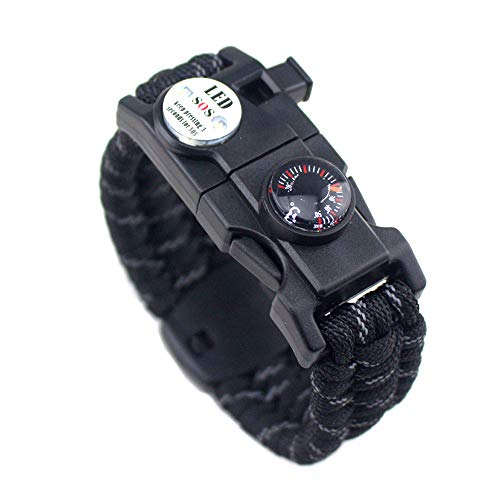 21 in 1 Survival Armband, 7 Core Paracord Notfall Sport Armband Ausrüstung Wasserdichter Kompass, SOS-LED-Licht, Thermometer, Rettungspfeife, Feuerstarter Multi-Tool Wilderness Adventure Zubehör