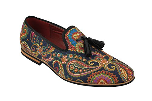 Xposed Mens Leather Tassel Loafer Vintage Italian Designer Style Paisley Print Shoes in Black, Blue