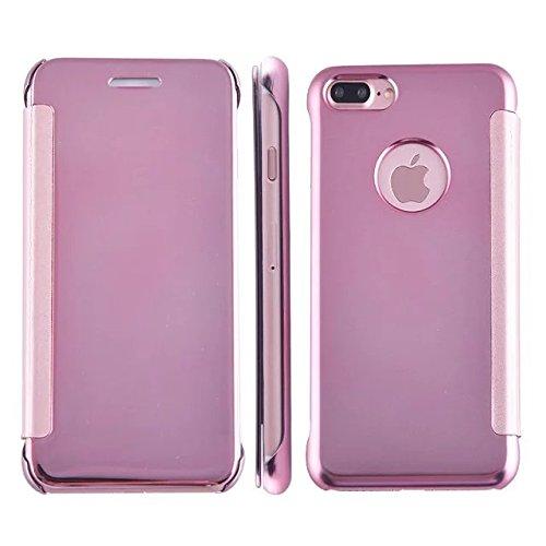 Meimeiwu Mirror Effect Flip Hülle Luxus Electroplate Spiegel Mirror Ultra Dünn Schutzhülle Bumper Case Cover für iPhone 7 Plus - Dunkel Blau Rose Gold