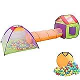 Wellhome Faltbare Pop Up Kinderspielzelt mit Tunnel Spielzelt mit Tasche und 200 Bälle Indoor und Outdoor für Jungen Mädchen und Babys