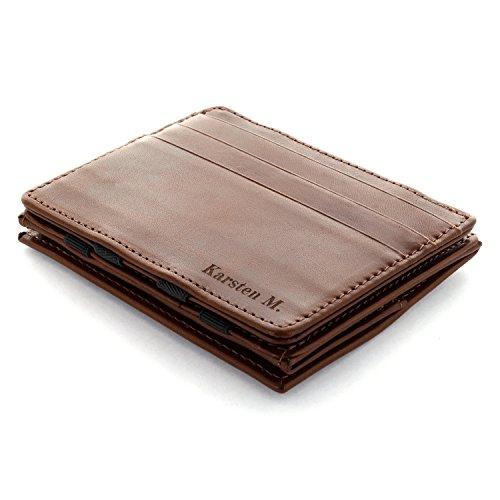 Jaimie Jacobs  Portafoglio Magico con Incisione, Magic Wallet Flap Boy - l'Originale - Protezione RFID, Portafoglio Uomo con scompartimento per monete, Porta Carte di Credito Slim (Marrone)