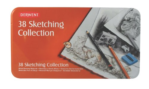 Top Derwent Sketching Collection Tin Set of 38 Drawing and Sketching Mixed Media with Accessories Online
