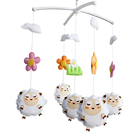 Baby Boy & Girl Bettwäsche Rattle Toy, [Nettes Schaf] Crib Mobile, Hanging Gift