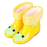 LYXFZW,Rain Boots For Kids,girls,Rubber Wellington Boots Children With Soft Plush Warm Lining Cute Waterproof Non-Slip Boys Easy Wipe Yellow Frog Removable For Outdoor School Garden