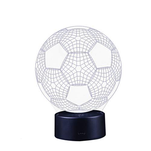 happy event Fußball 3D Nachtlicht   Tisch Schreibtischlampe   7 Farben 3D optische Täuschung Lichter (B: Ohne Fernbedienung, Schwarz)