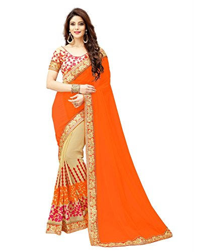 Dubai Creation women's Georgette Embroidered Orange AND Beige color saree for party...