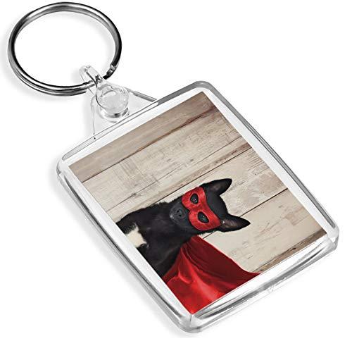 Ziel Vinyl Schlüsselanhänger Superheld Hund Schlüsselanhänger Held Comic Cape Puppy Schlüsselanhänger Gift # 12435