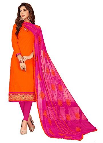 Priyavadhu Women's Slub Cotton straight Unstitched Salwar kameez Dress material (BLFNC10_Orange_Free Size)