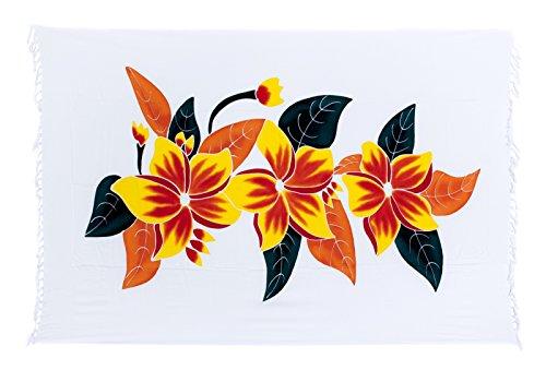 Sarong ca. 170cm x 110cm Handbemalt inkl. Sarongschnalle im Runden Design - Viele exotische Farben und Muster zur Auswahl - Pareo Dhoti Lunghi Blumen Weiss Bunt 2