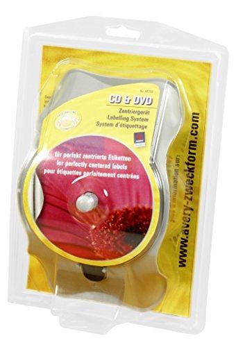 Avery Zweckform AB750 CD & DVD Zentriergerät (117 x 117 mm, 1 Zentrierhilfe) 1 Stück grau