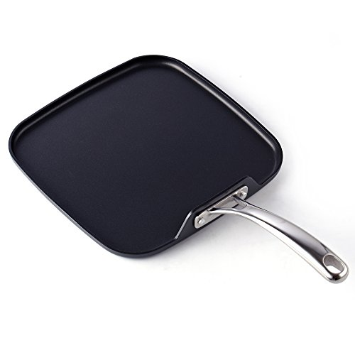 Cooks Standard - Sartén cuadrada de aluminio anodizado duro, color negro, tamaño mediano