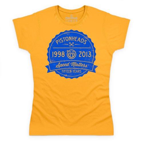 PistonHeads Fifteen Years T-Shirt, Damen Gelb