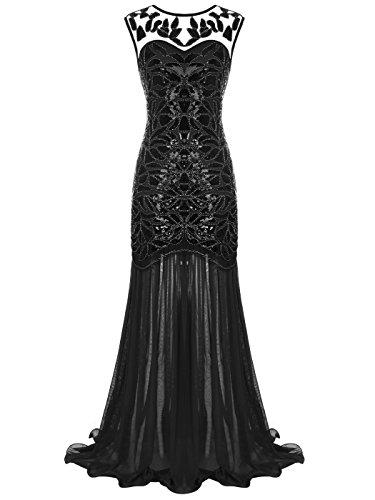 FAIRY COUPLE 1920 Bodenlänge V-Rücken Pailletten verschönert Abschlussball Abend Kleid D20S004(S,Schwarz)