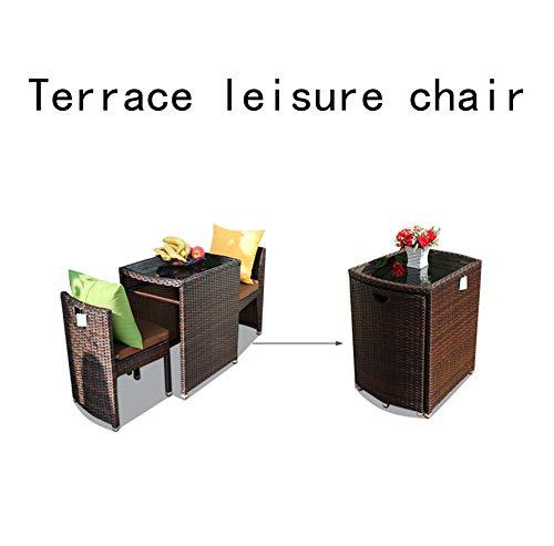 GGO Balkon Tisch Und Stühle Moderner Rattan Stuhl Dreiteilige Kombination Kreative Kleinen Couchtisch Terrasse Freizeit Stuhl